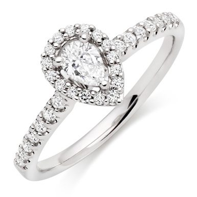 Beaverbrooks- 18ct White Gold Diamond Halo Ring- £1,750