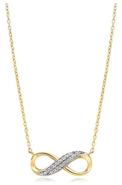 Beaverbrooks - 9ct Gold Cubic Zirconia Infinity Necklace - £195