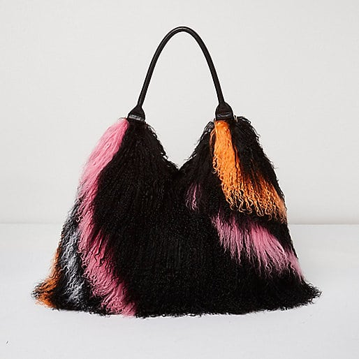 River Island - Black Mongolian Wool Stripe Leather bag