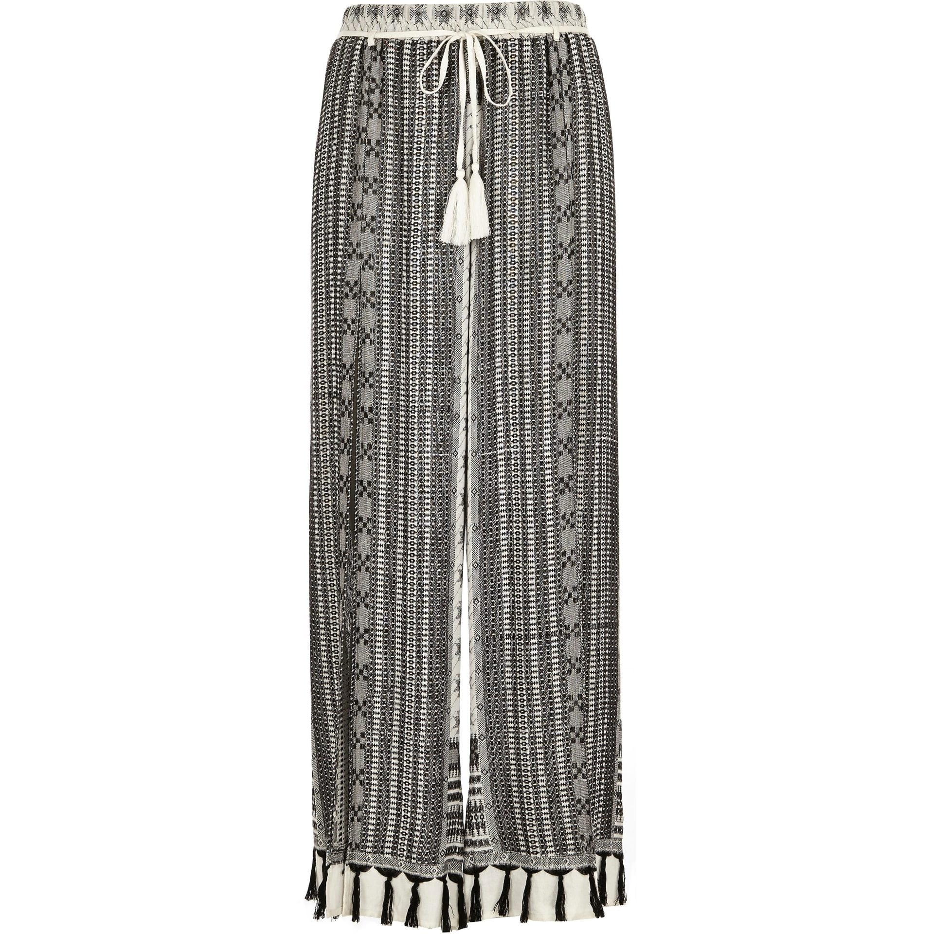 River Island Black print tassel trousers £30