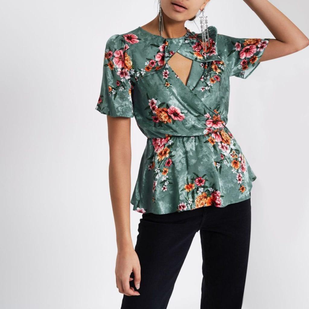 River Island- Green floral print twist neck peplum top- £36