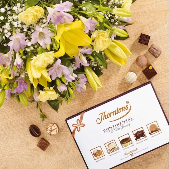 Thorntons - Lily and Freesia Bouquet & Continental Chocolate Box - £35