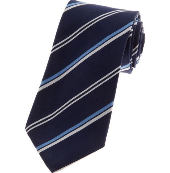 Navy Silk Striped Tie - Tkmaxx - £9.99