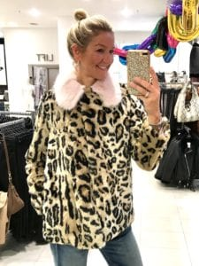 2cc5d73c11071c Topshop £69.00. This beautiful leopard print faux fur jacket has a very  girly twist with this gorgeous baby pink collar.
