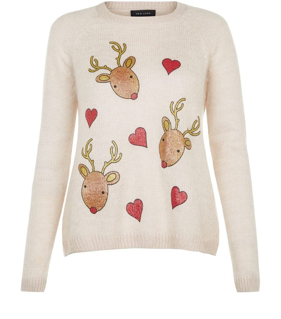 New Look - Cream Reindeer Heart Jumper £14.99